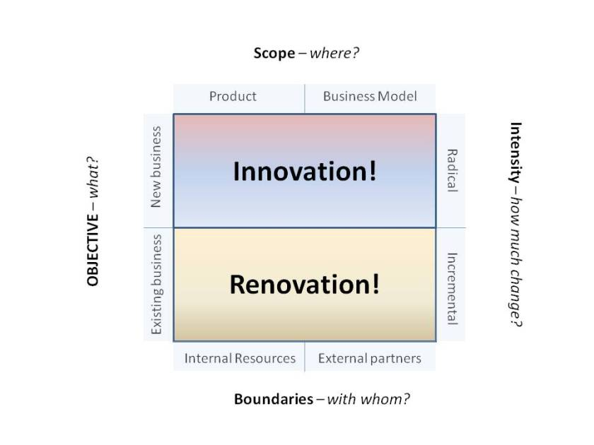 Innovation Strategy Roles Matrix (innovate vs renovate)
